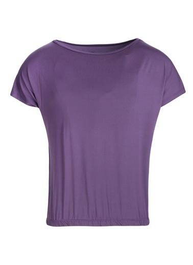 Sportive Polcrop Kadın Mor Günlük Stil Tişört 710726-Mor Renkli